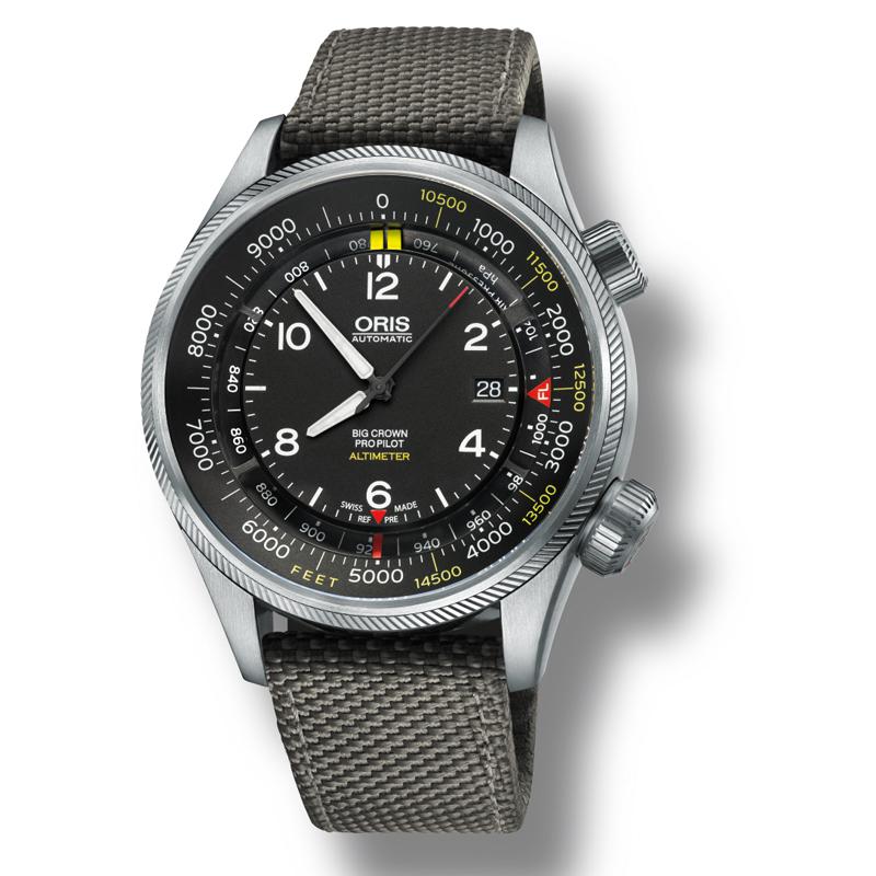 Image of   ORIS BIG CROWN PROPILOT ALTIMETER feet scala automatik armbåndsur med sort skive og grå nylon rem
