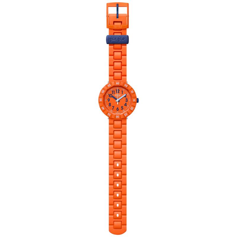 Image of   Flik Flak børneur i orange og mørkeblå med gummirem
