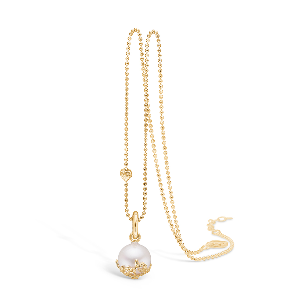 Blossom vedhæng i 9 kt guld med perle
