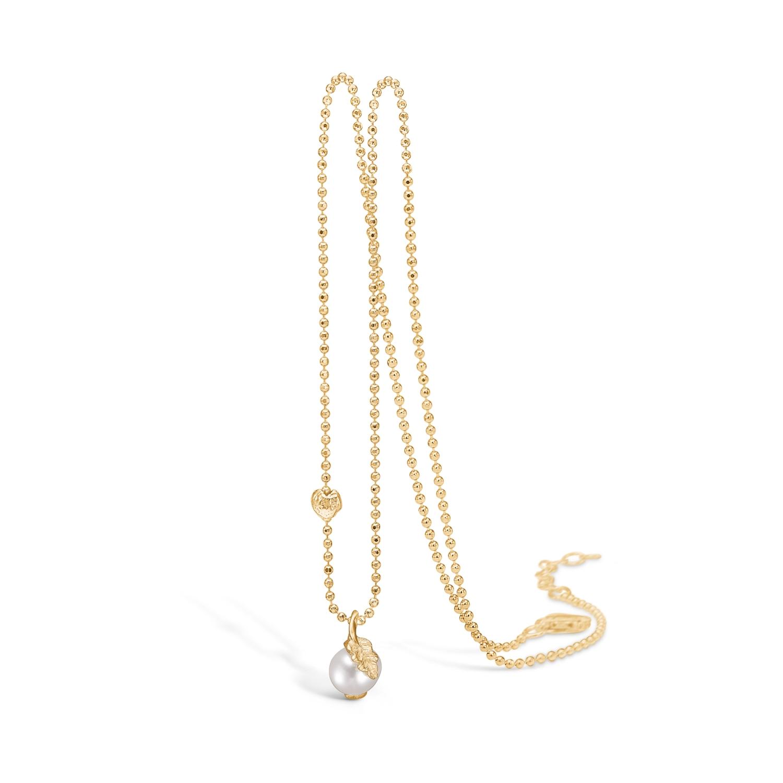 Image of   Blossom perlevedhæng i 9 kt guld med forgyldt kæde
