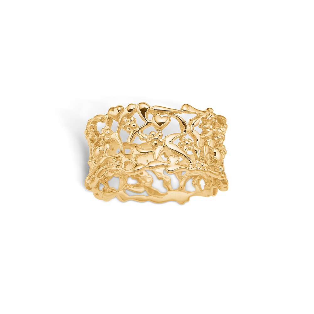 Image of   Blossom ring i 9 kt guld, bred med grene - blank