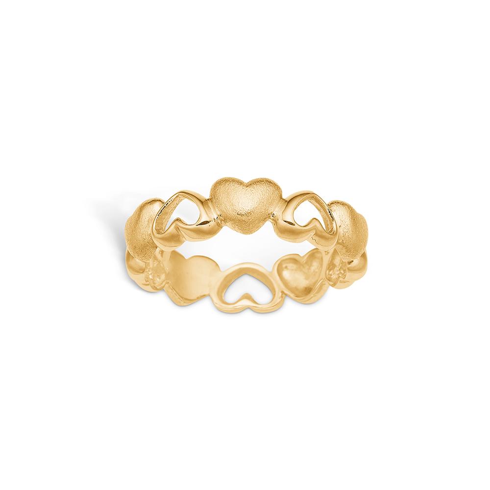 Image of   Blossom ring i 9 kt guld med hjerter mat/blank