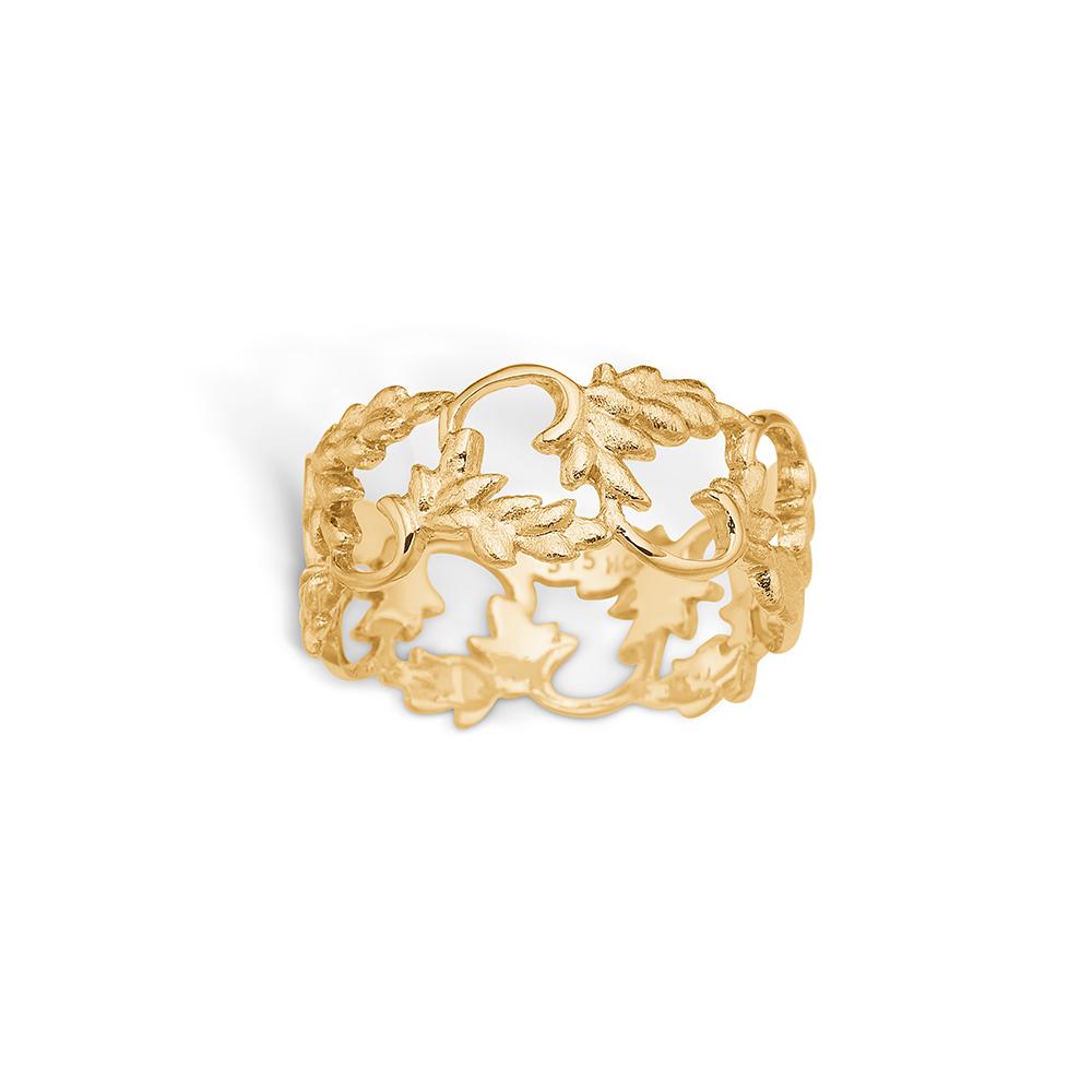 Blossom ring i 9 kt guld -blank med blade