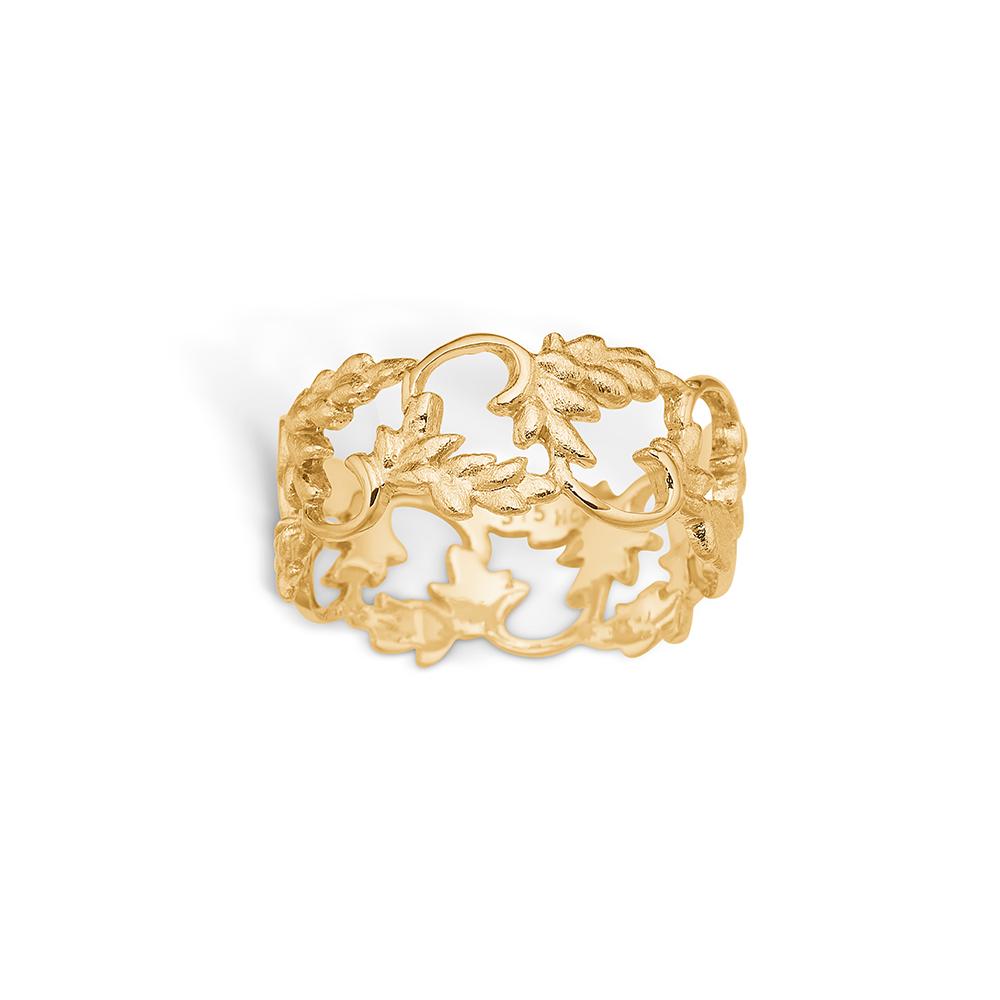 Image of   Blossom ring i 9 kt guld med blade