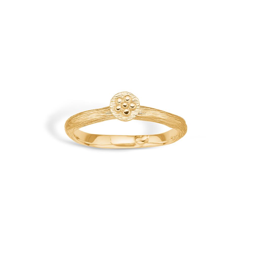 Image of   Blossom ring i 9 kt guld mat/blank blomst