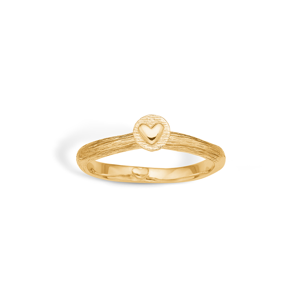Image of   Blossom ring i 9 kt guld med hjerte