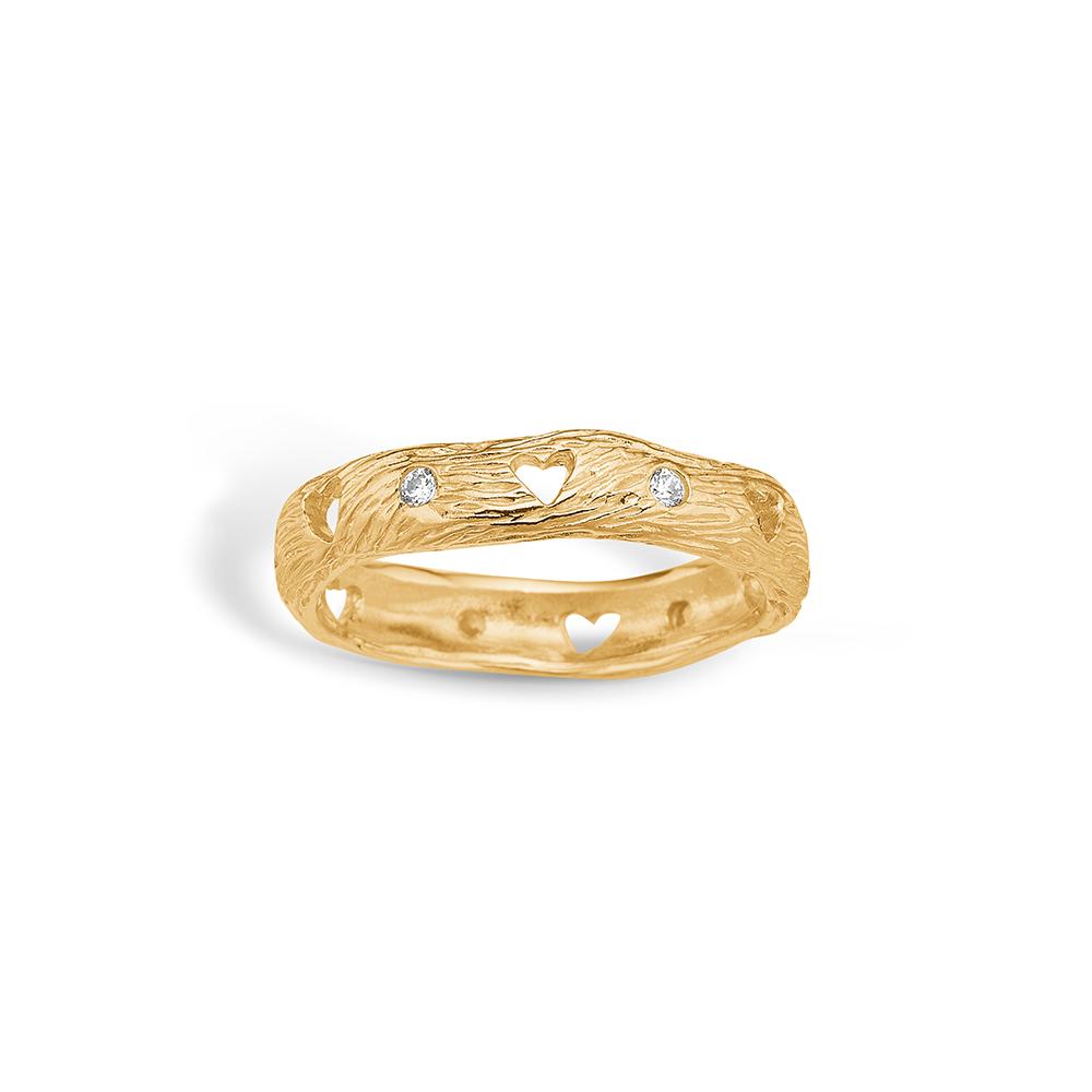 Image of   Blossom ring i 9 kt guld - mat med hjerter og CZ