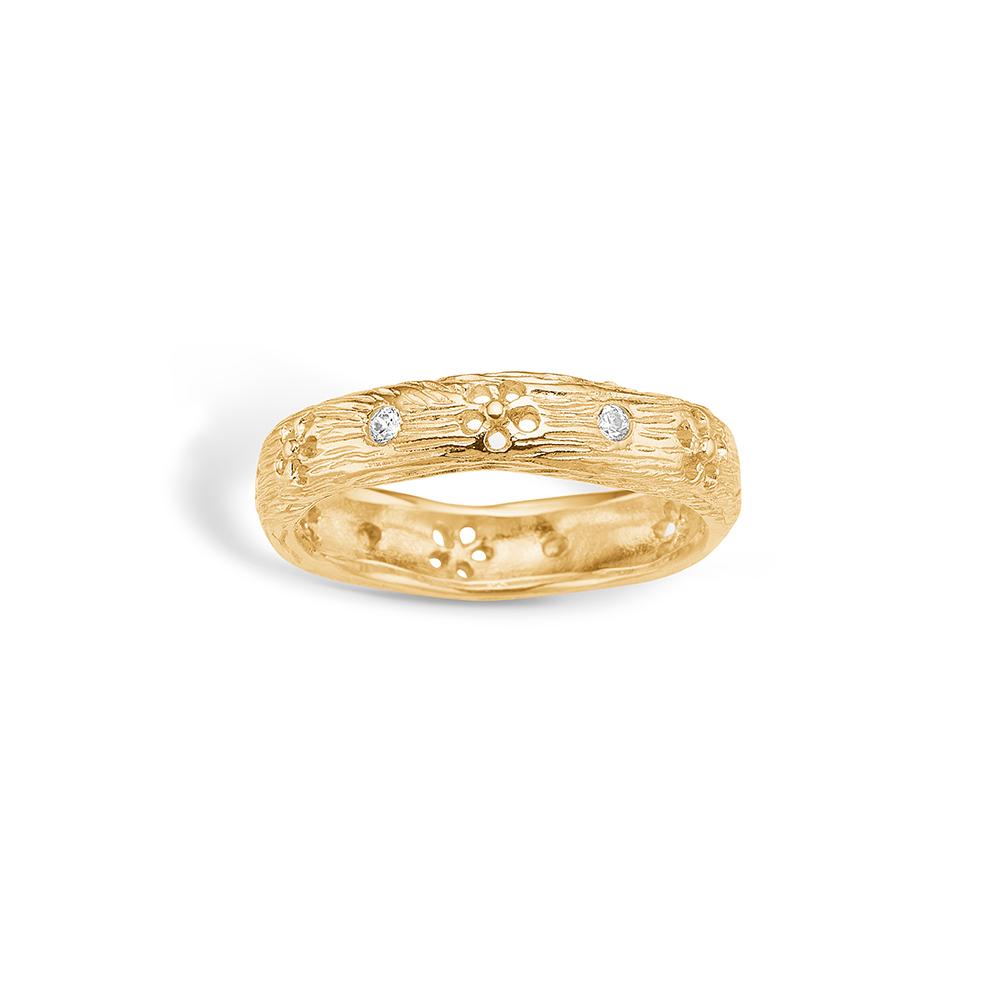 Image of   Blossom ring i 9 kt guld - mat med blomster og CZ