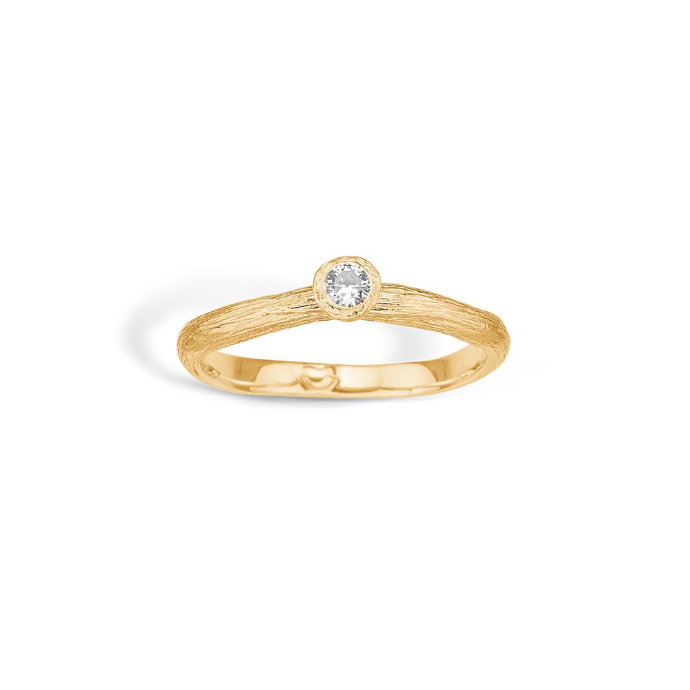 Image of   Blossom ring i 9 kt guld med cz