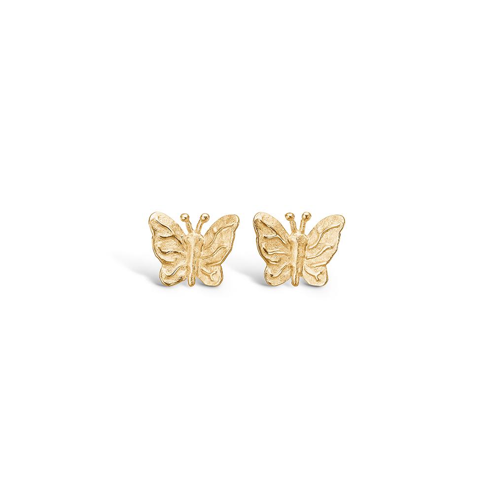 Blossom ørestikker i 9 kt guld, sommerfugle