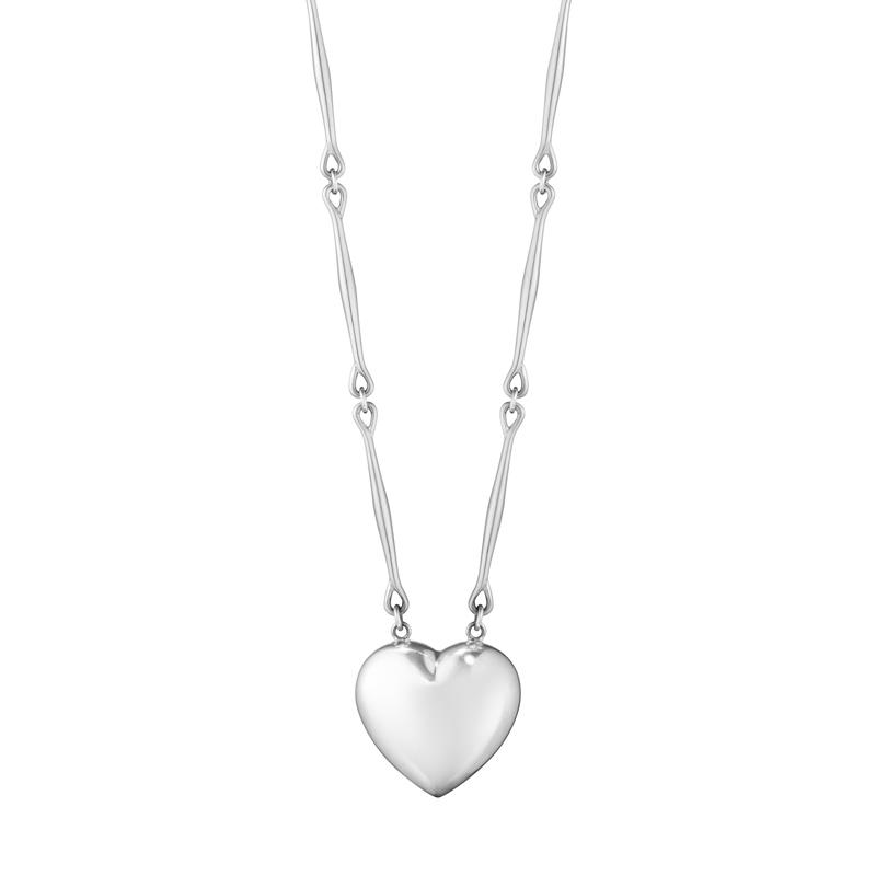 Georg Jensen Astrid hjerte halskæde i sølv, 90 cm