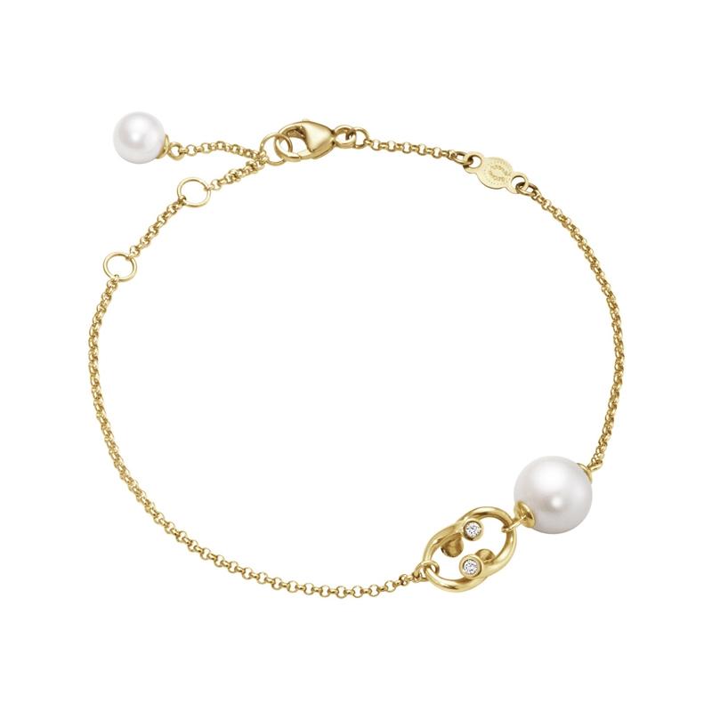 Georg Jensen Magic armbånd 1513C, 18 kt. guld med hvide perler og brillanter