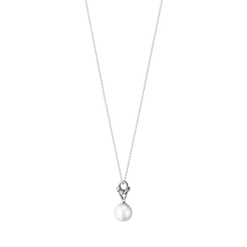 Georg Jensen Magic halskæde i 18 kt. hvidguld med 4 brillanter og hvid perle