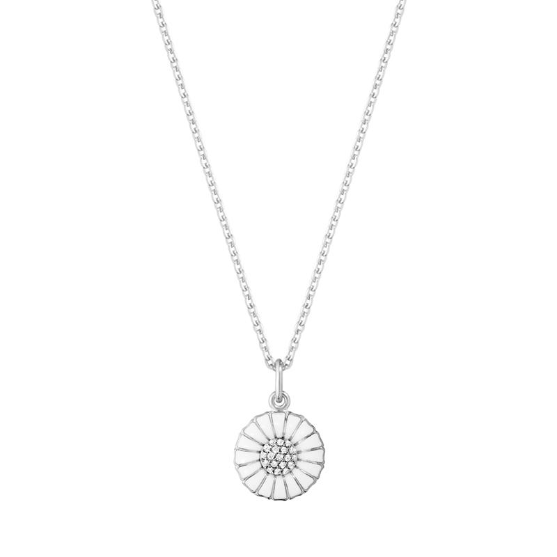 Image of   Georg Jensen Daisy Marguerit diamant vedhæng 11 mm, sølv med hvid emalje i alt 0,05 ct