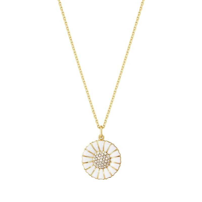 Georg Jensen Daisy Marguerit diamant vedhæng 18 mm, forgyldt med hvid emalje i alt 0,19 ct