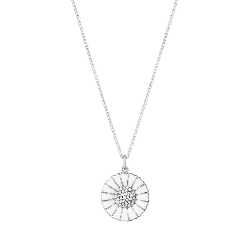 Georg Jensen Daisy Marguerit diamant vedhæng 18 mm, sølv med hvid emalje i alt 0,19 ct