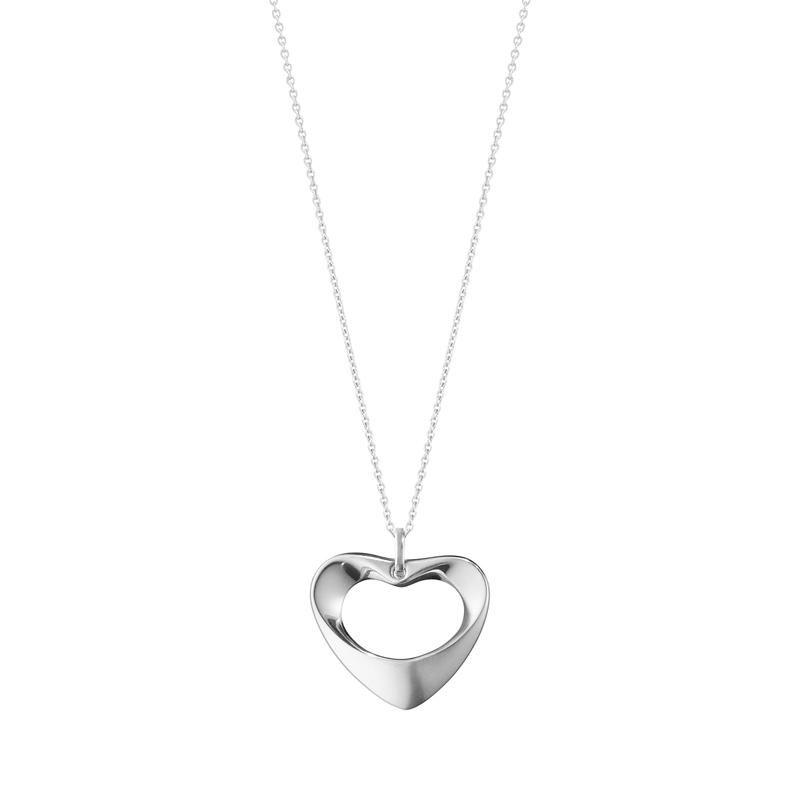 Georg Jensen Koppel hjerte halskæde i sølv - stor model