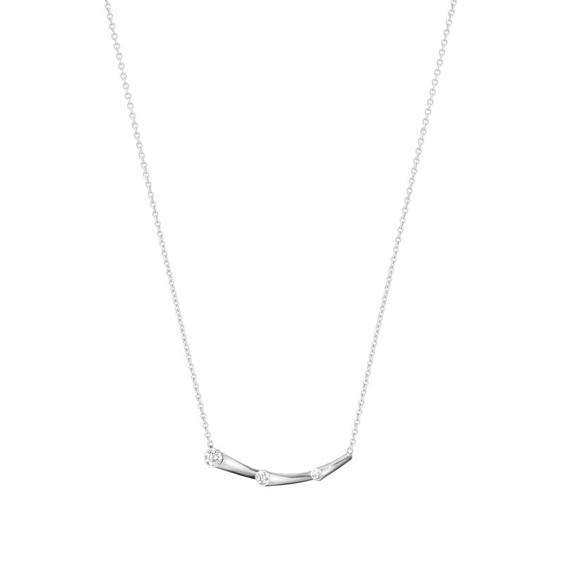 Georg Jensen Magic Cuff halskæde i 18 kt. hvidguld med 3 brillanter