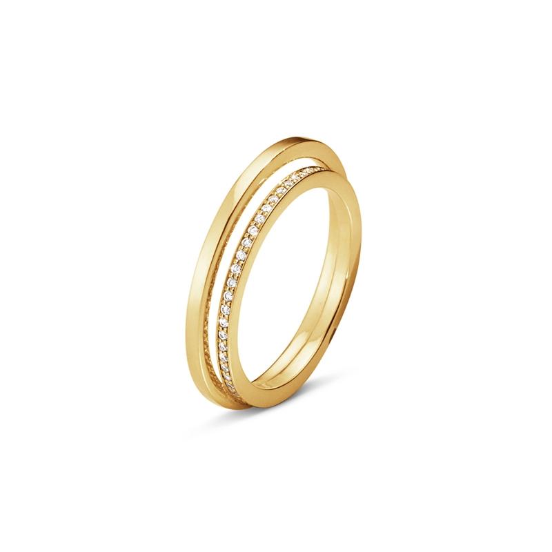 Georg Jensen Halo Ring i guld med brillanter