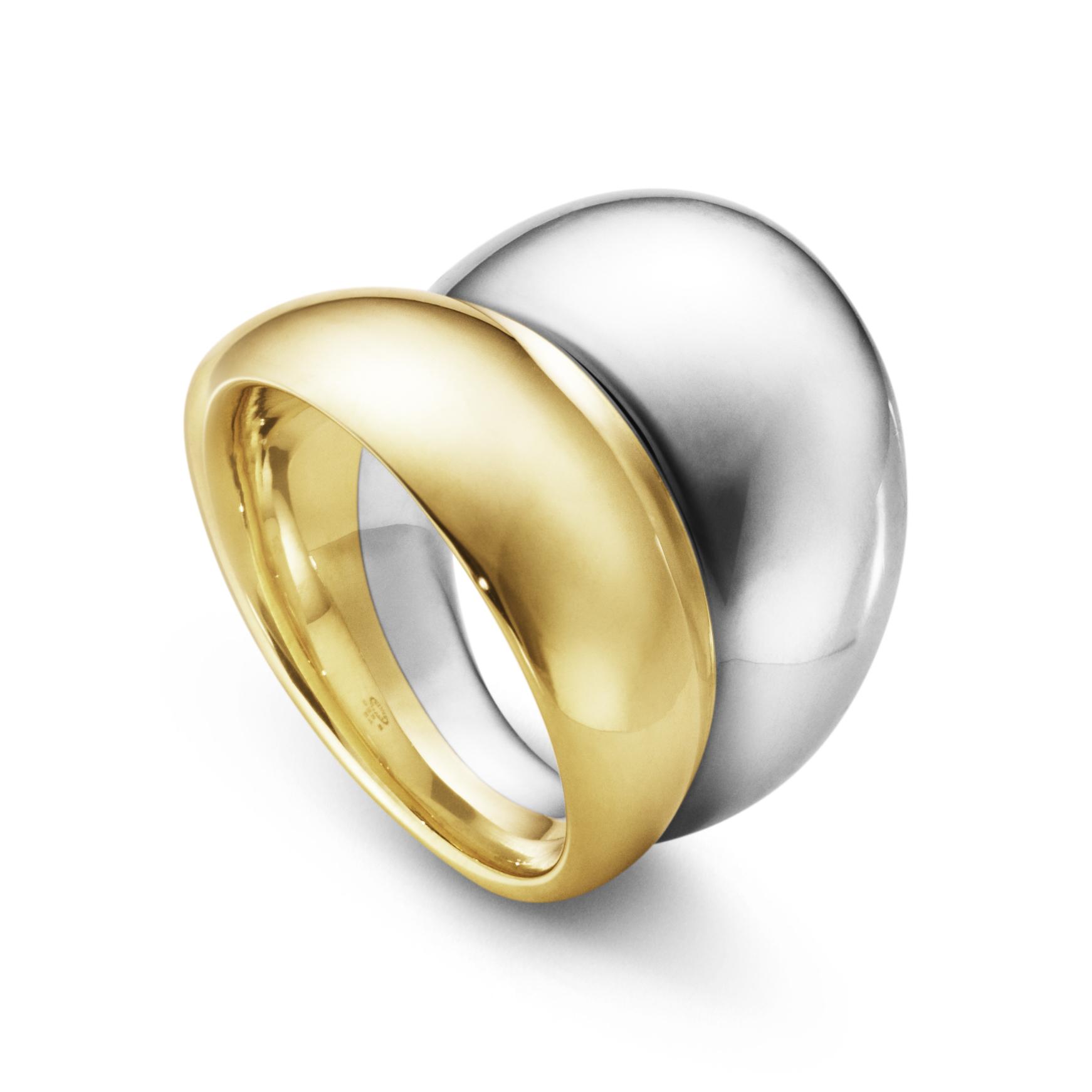 Image of   Georg Jensen Curve ring bred, 501, sølv og guld