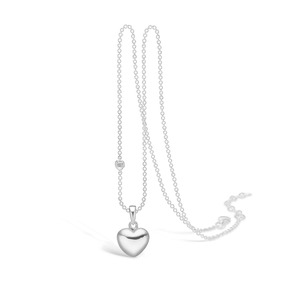Image of   BLOSSOM blankt hjerte vedhæng på kæde, lille størrelse