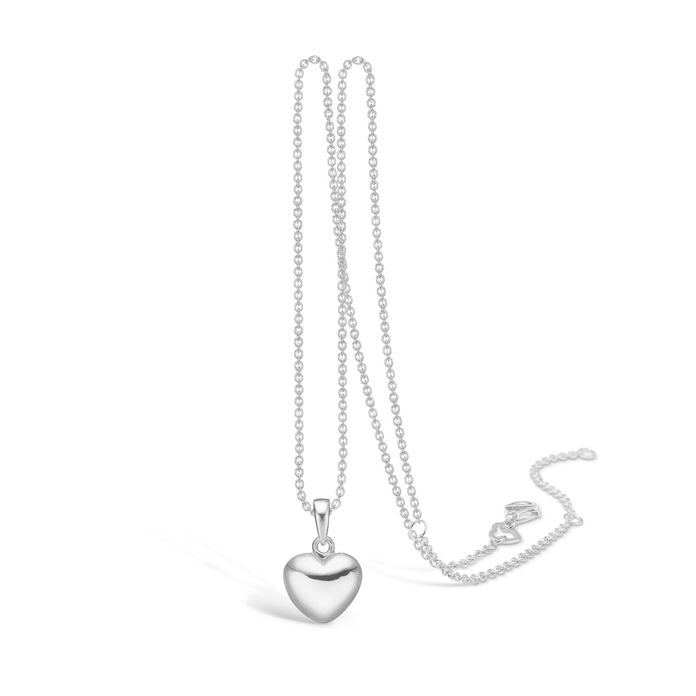 Image of   BLOSSOM blankt hjerte vedhæng på kæde, mellem størrelse