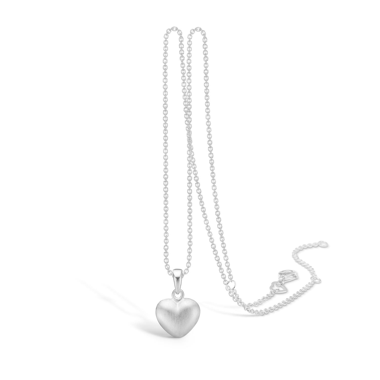 Image of   BLOSSOM matbørstet hjerte vedhæng på kæde, mellem størrelse