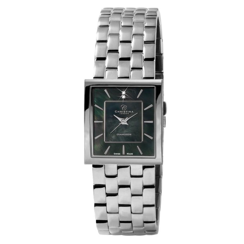 Image of   Christina Watches stål dame armbåndsur med sort perlemorsskive 2 diamanter