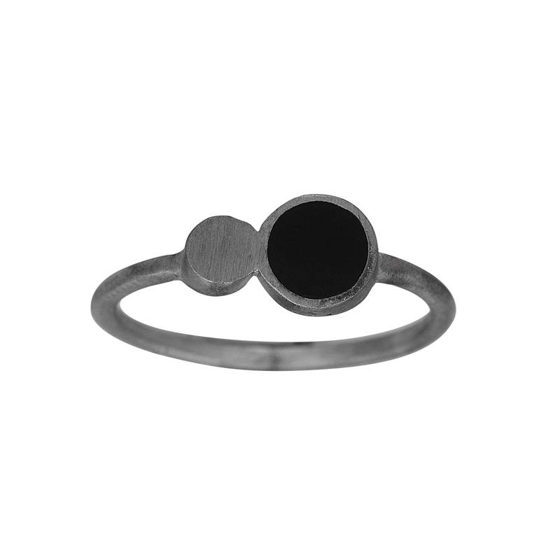 Nordahl Jewellery BLACK ring i sort sølv med to cirkler i sort sølv og sort