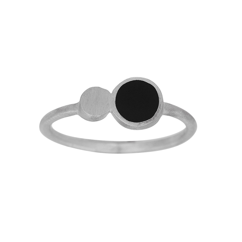 Nordahl Jewellery BLACK ring i sølv med to cirkler i sølv og sort