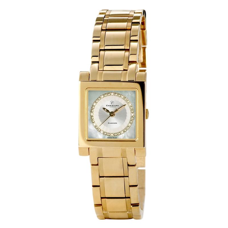 Image of   Christina Watches guldfarvet dame armbåndsur med 12 diamanter