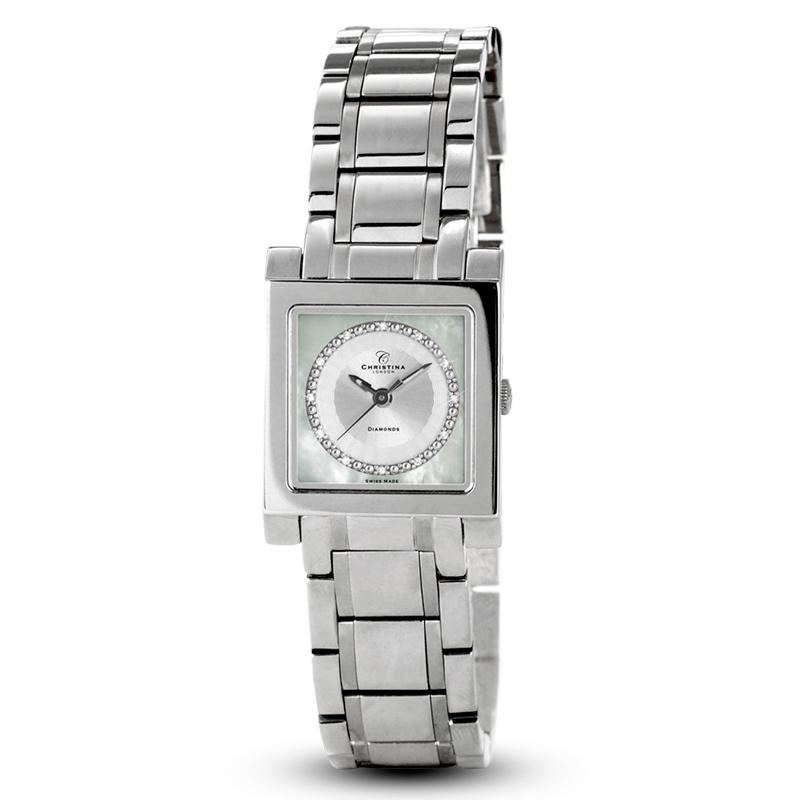 Image of   Christina Watches stål dame armbåndsur med 12 diamanter