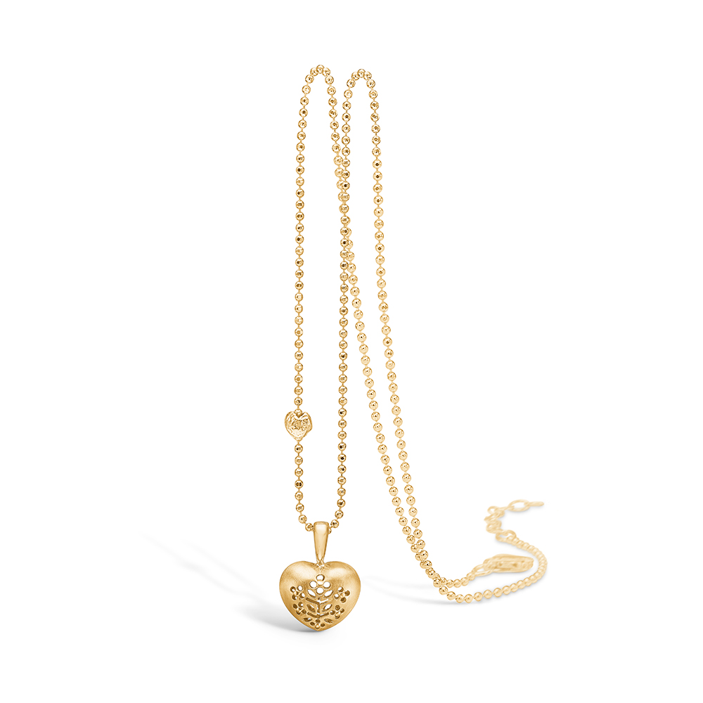 Image of   Blossom vedhæng i 14 kt guld, hjerte med forgyldt kæde