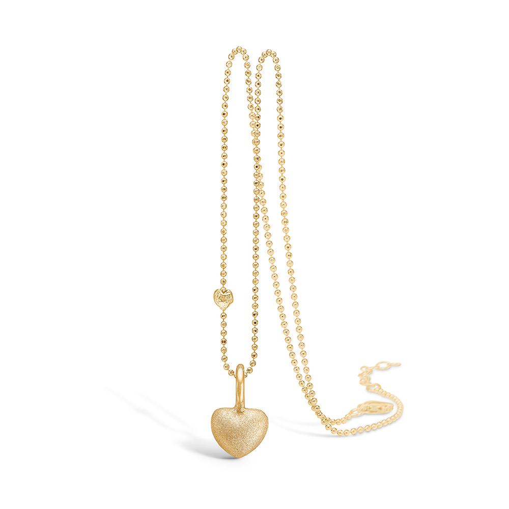 Image of   Blossom vedhæng i 14 kt guld, mat hjerte med forgyldt kæde