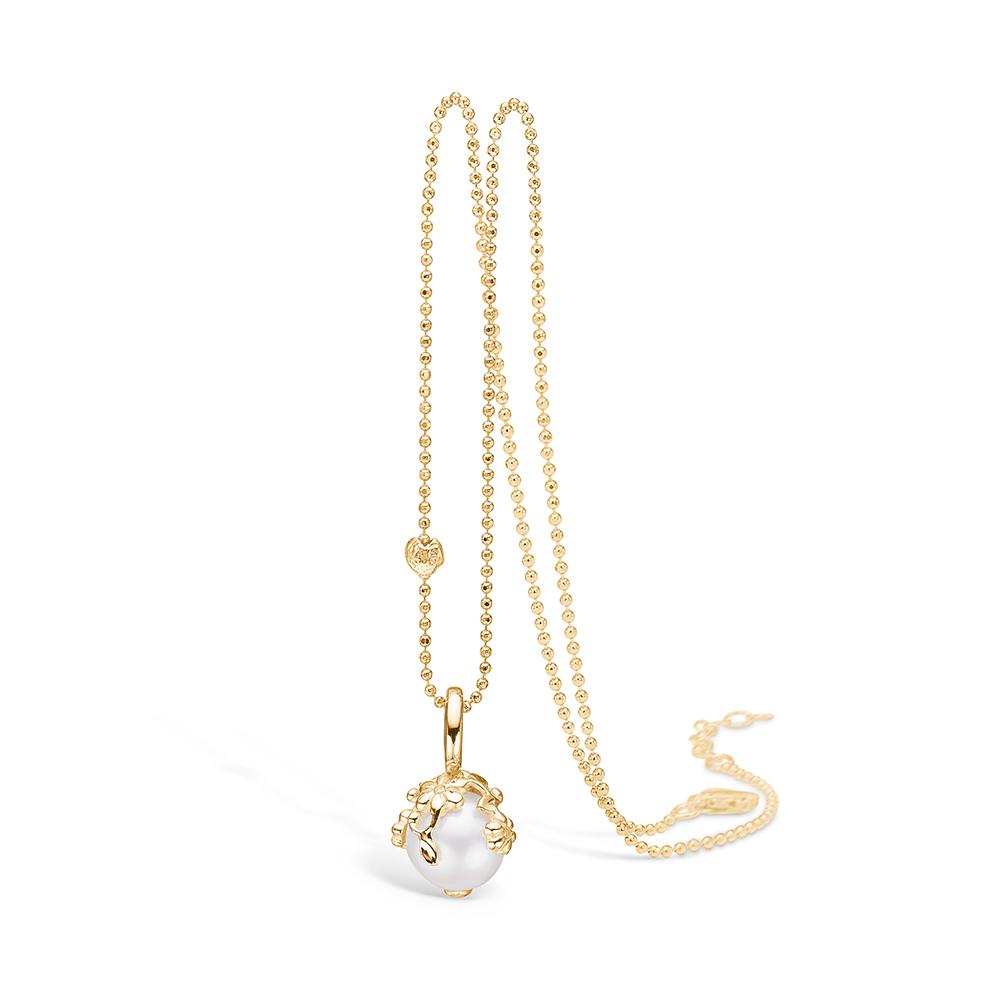 Blossom vedhæng i 14 kt guld med diamanter og perle