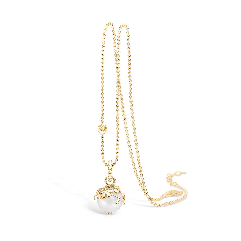 Blossom vedhæng i 14 kt guld med diamant og perle