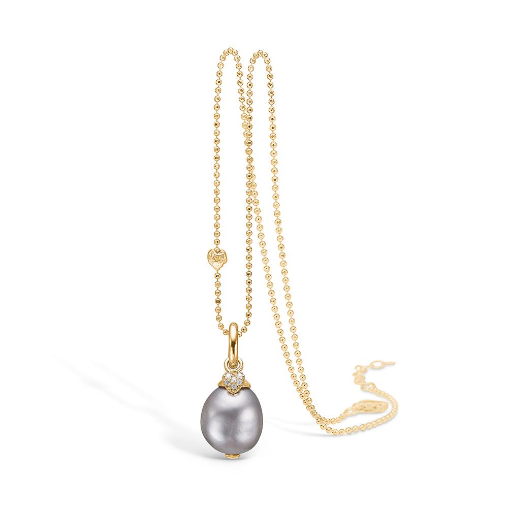 Billede af Blossom vedhæng i 14 kt guld med diamanter og grå perle