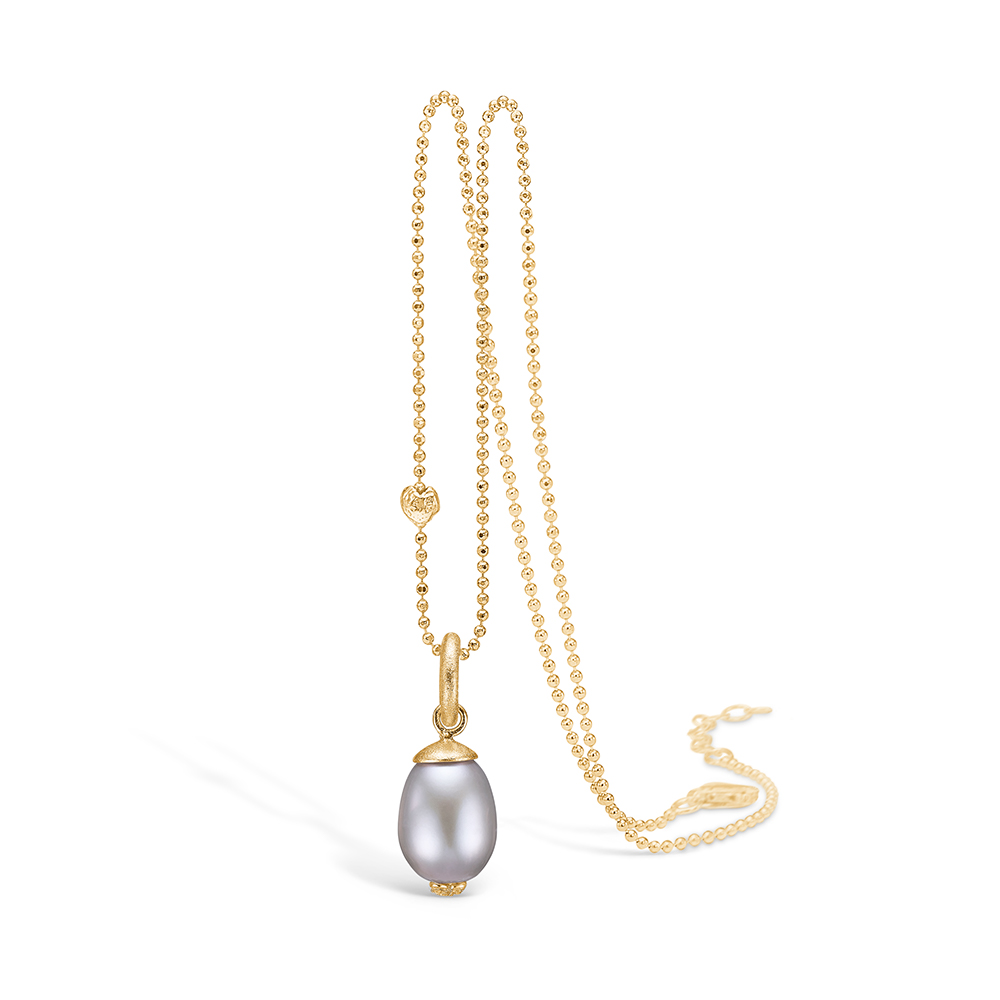 Blossom vedhæng i 14 kt guld med diamanter og grå perle