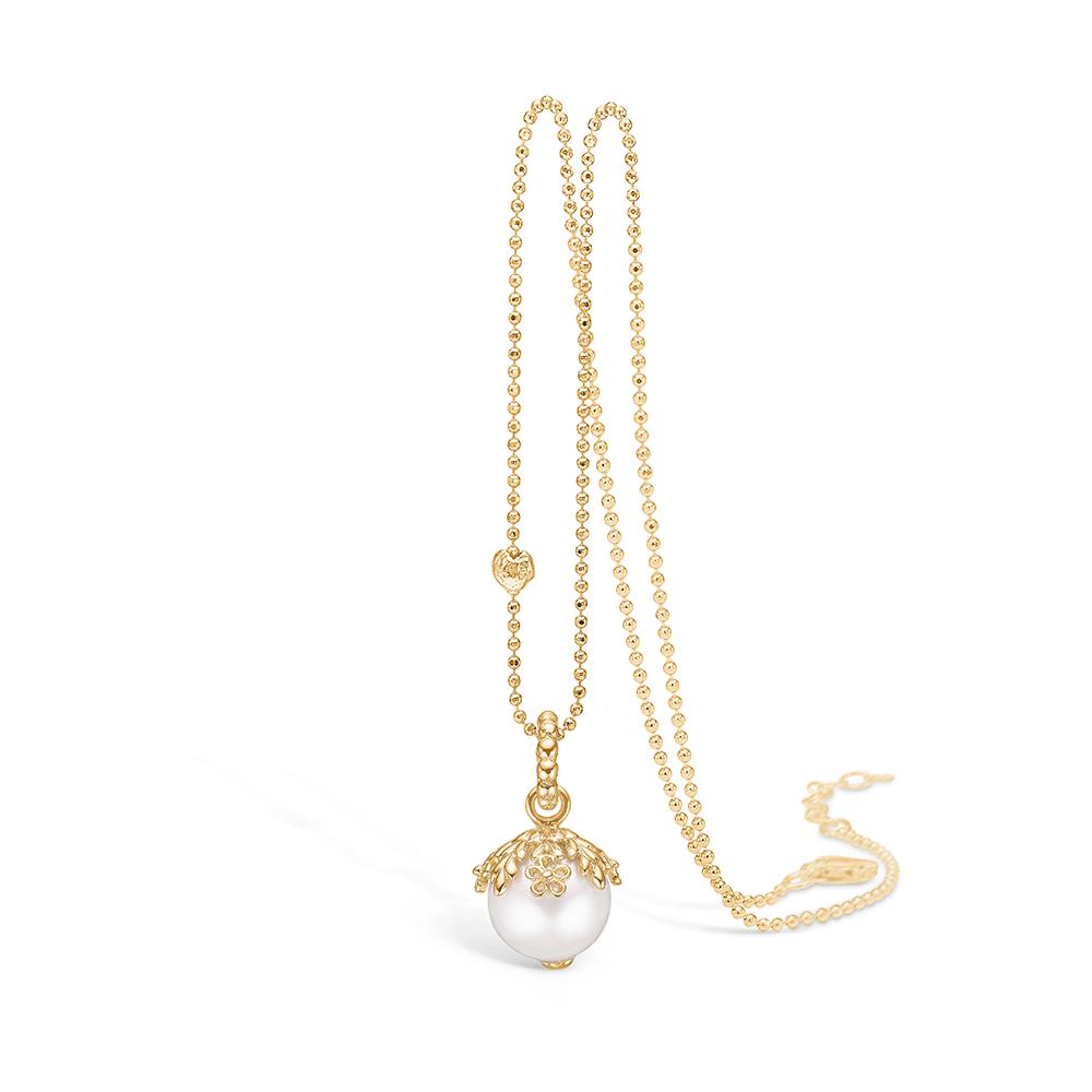 Blossom vedhæng i 14 kt guld med perle