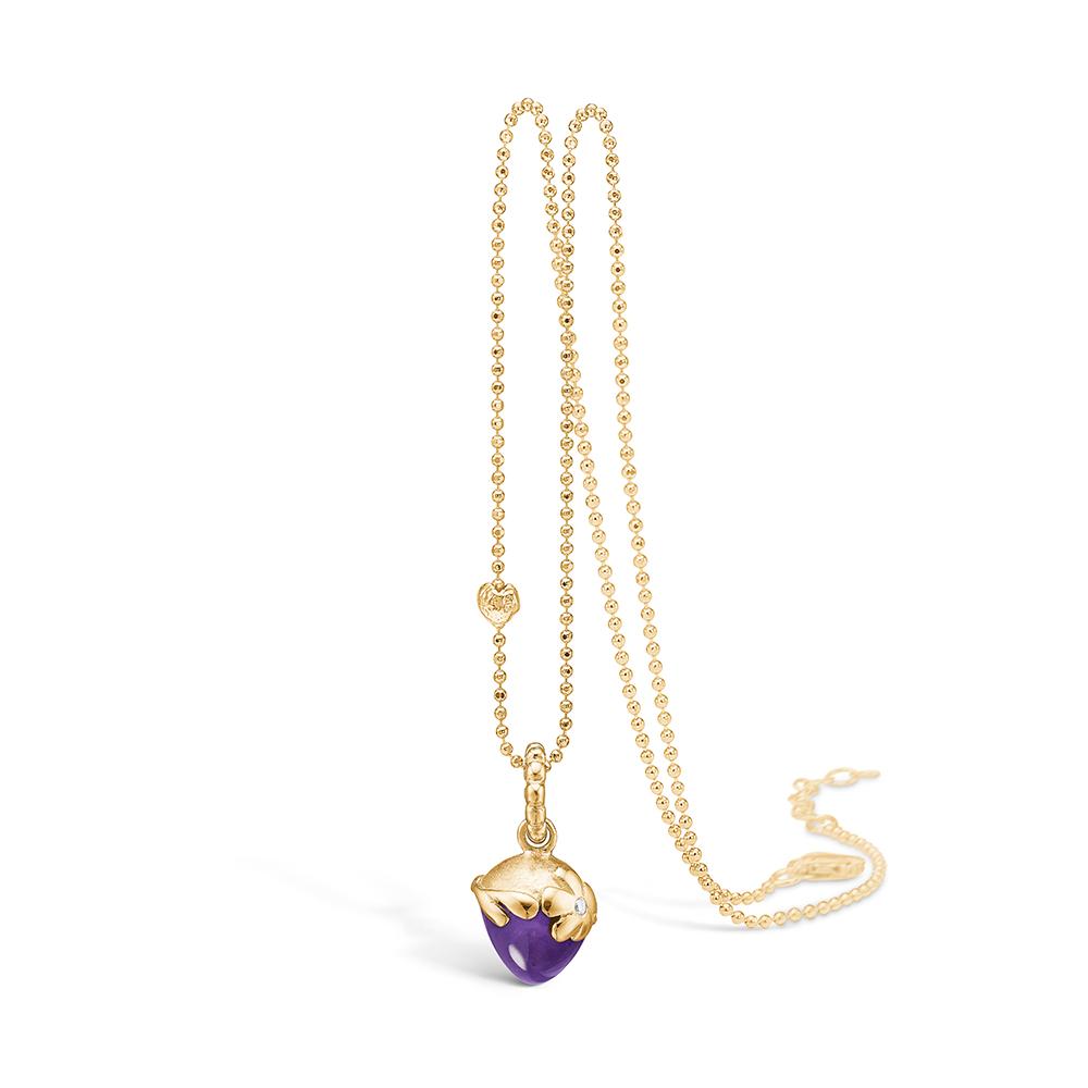 Blossom vedhæng i 14 guld med diamant og ametyst