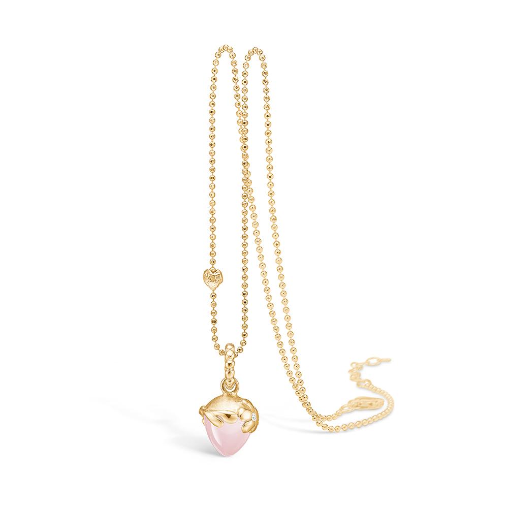 Blossom vedhæng i 14 guld med diamant og rosakvarts
