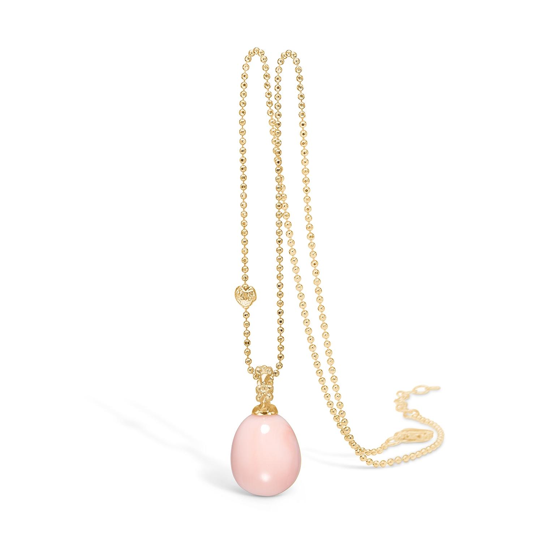 Image of   Blossom vedhæng i 14 guld med rosa koral på 80 cm kæde