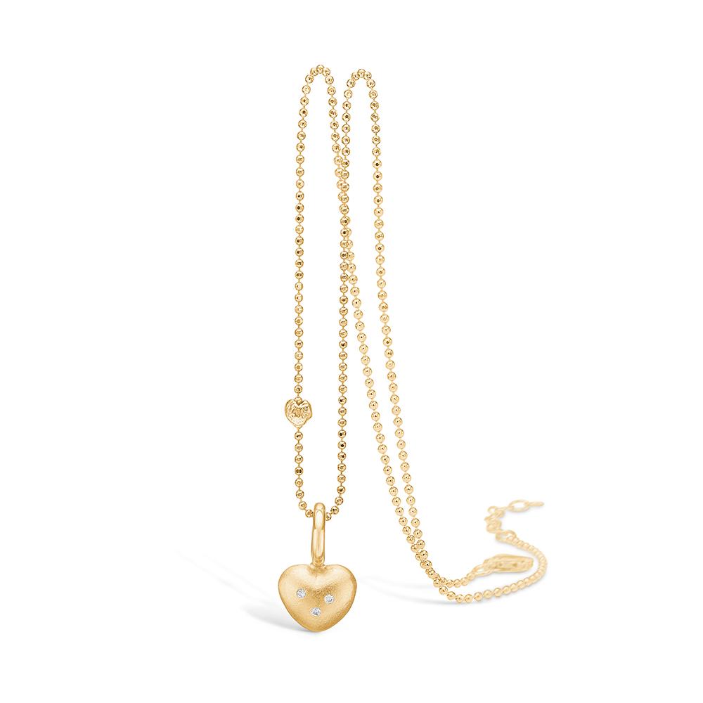 Blossom vedhæng i 14 kt guld, mat hjerte med 3 diamanter