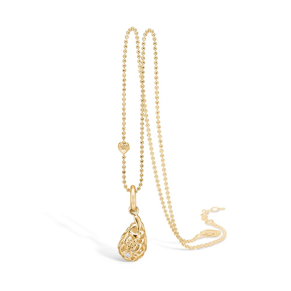 Blossom vedhæng i 14 guld, dråbe med diamant