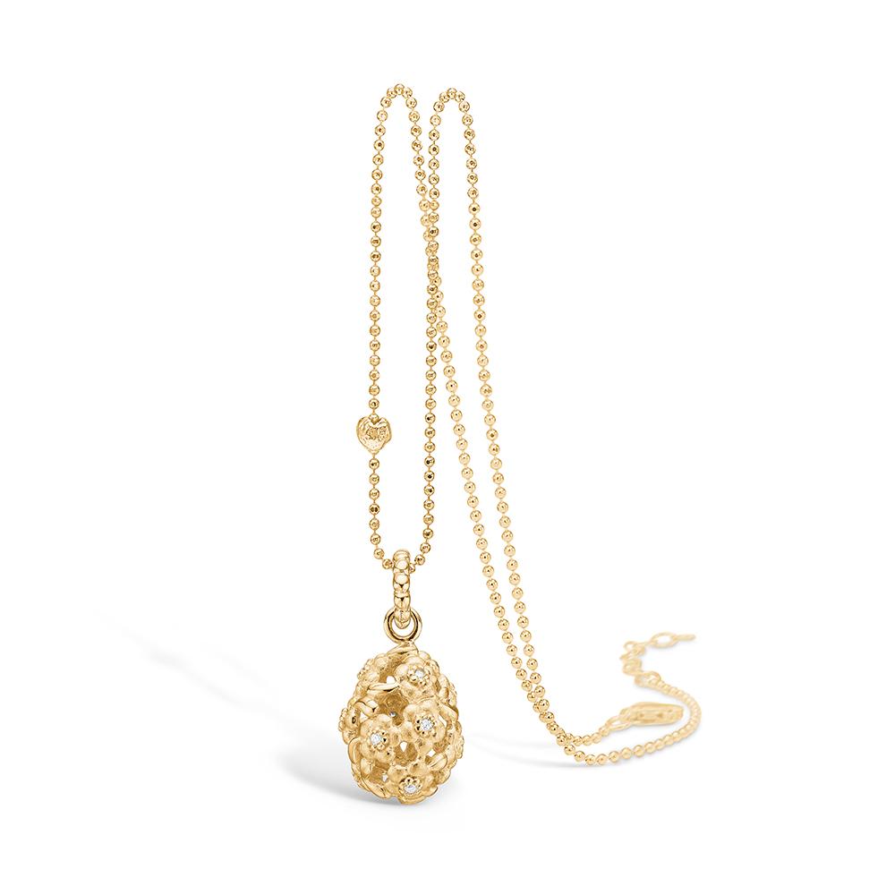 Image of   Blossom vedhæng i 14 kt guld med 12 diamanter