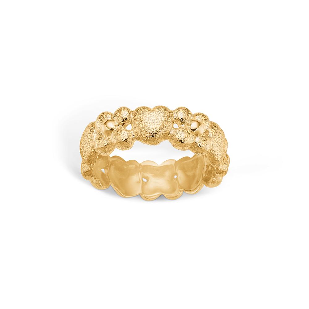 Image of   Blossom ring i 14 kt guld med hjerter og blomster
