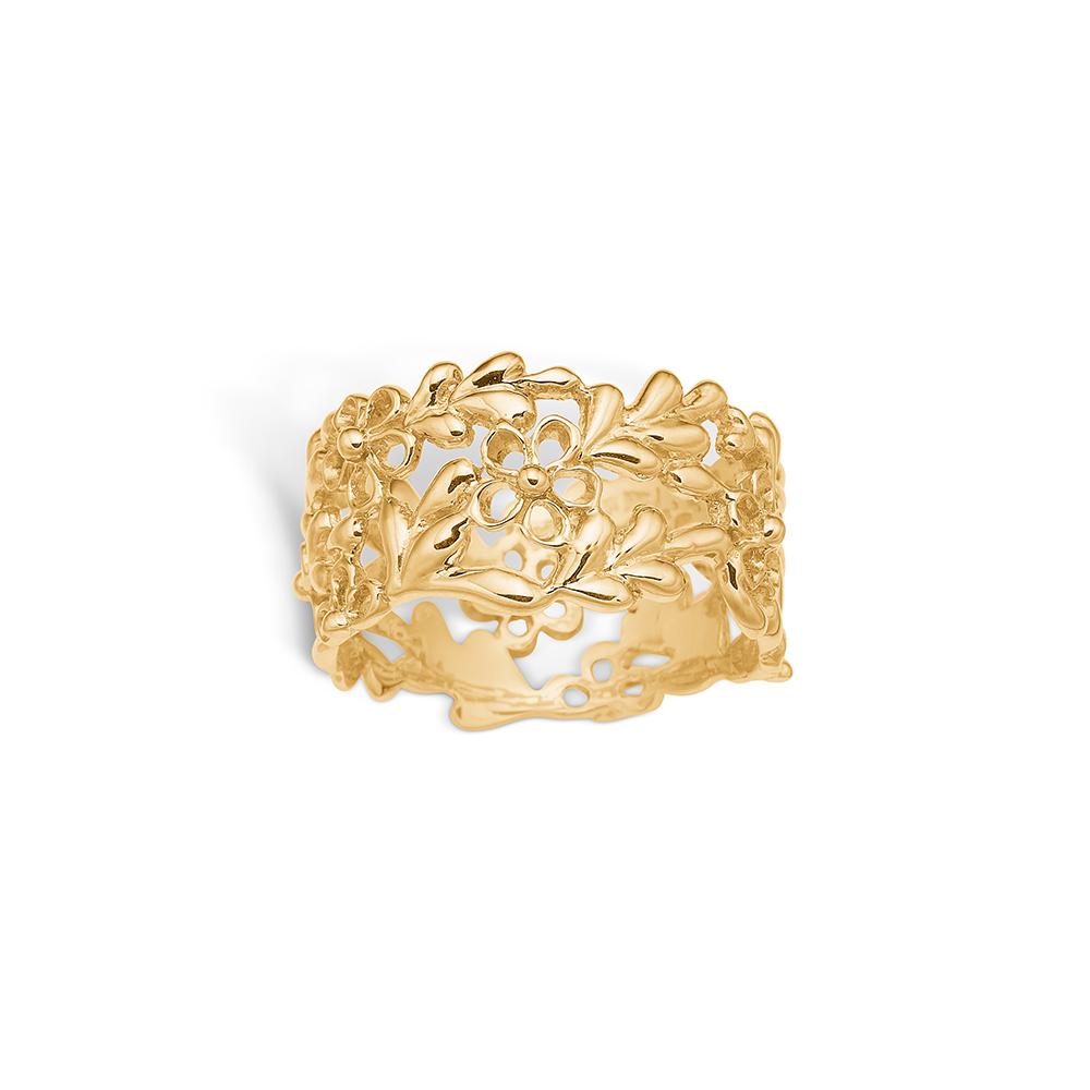 Image of   Blossom ring i 14 kt guld med blomster