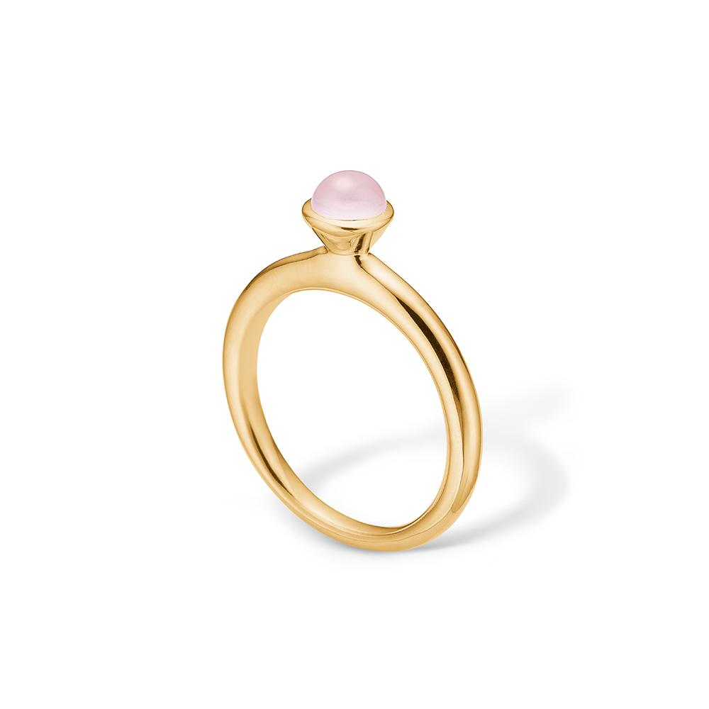 Image of   Blossom ring i 14 kt guld med pink agat