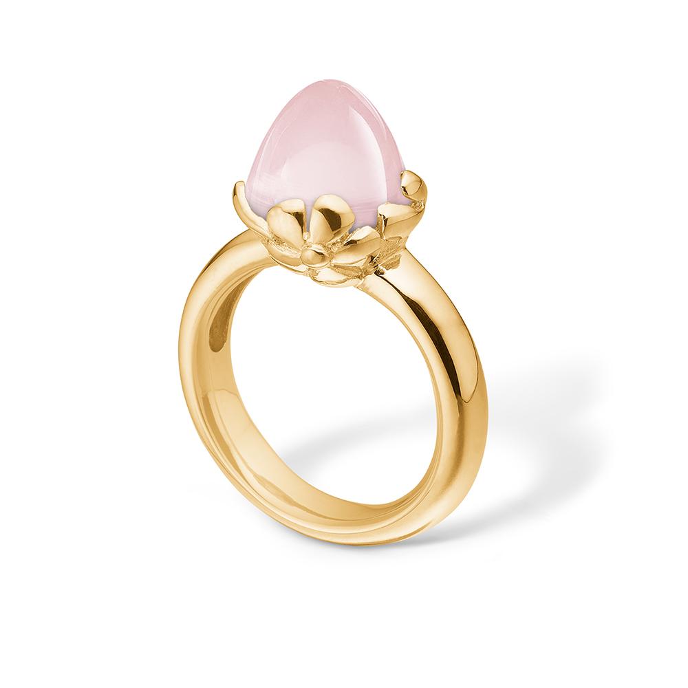 Image of   Blossom ring i 14 kt guld med en stor rosakvarts