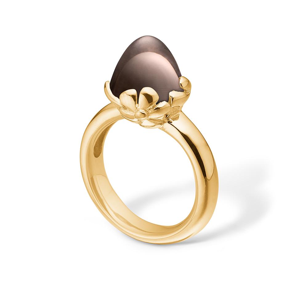 Image of   Blossom ring i 14 kt guld med stor røgkvarts